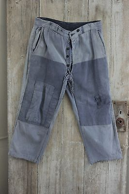 Vintage French REPAIRS  blue pants trousers cotton farmers work clothes wear 34W