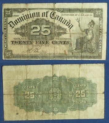 Currency: Dominion of Canada 25ct., 1900 Boville Front a little off-center
