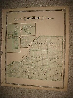 Antique 1876 Starke Marshall County Indiana Map Knox Plymouth Railroad Superb Nr
