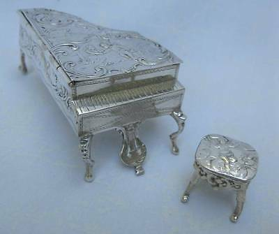 Antique German? 800 Grade Repousse Silver Miniature Grand Piano Box & Stool