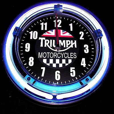 """Triumph Motorcycle Flags Logo 11"""" Blue Neon Clock - New !!"""