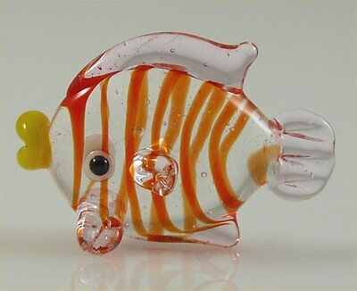 Fish Miniature Glass Figurine Clear,red w/Pink finsapprox 1 inch long
