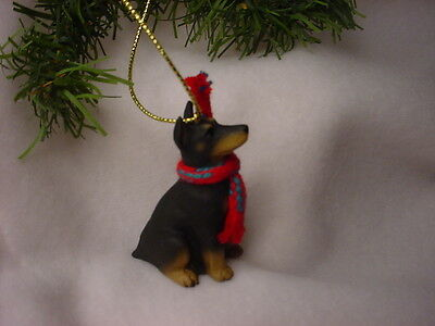 DOBERMAN PINSCHER cropped black dog HAND PAINTED ORNAMENT Figurine NEW Christmas
