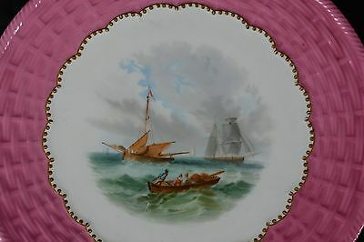 9 piece Fine English 19C Porcelain Desert Service Hand Painted Marine Ships