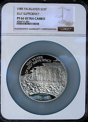 Falkland 1985 25 Pounds Self Sufficiency 4.46oz Silver Proof NGC PF66 UCAM