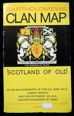 1975 Bartholomews Clan Map Scotland Of Old Kingdom Scots Pictorial Family Tartan