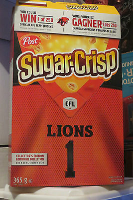 2016 Post Cereal Sugar-Crisp Cfl Football Lions Variant Box Canadian Edition