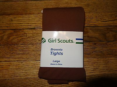 NWT Girl Scout Brownie Brown Tights size Large 12-14