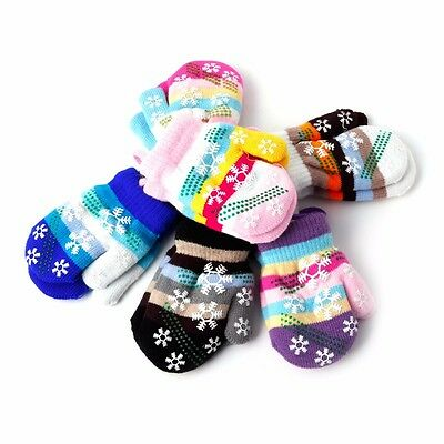 Kids Baby Children Stripe Snow Gloves Soft Knit Winter Warm Mitten Christmas