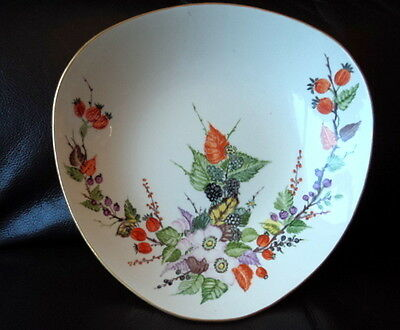 Vintage  Hand Painted Hancock Corfield & Waller  Pottery Triangular Plate Whb