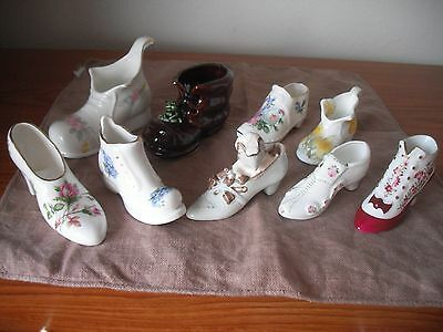 9 Assorted Ceramic Shoes & Boots Varying Makes See List