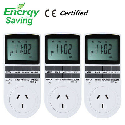 3X Programmable Digital LCD Plug-in Timer Socket Switch 240V AU Plug 12/24 hours