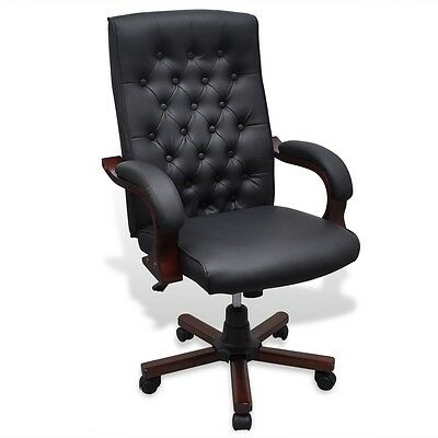 Black Executive Office Chair Captain Chesterfield PU Faux Leather Arm Swivel