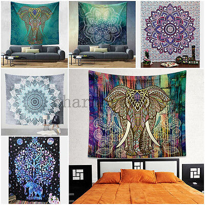 Indian Psychedelic Tapestry Wall Hanging Elephant Mandala Throw Hippie Bedspread