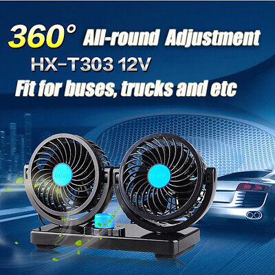 1x 360° All-Round Portable 12V Car Vehicle Truck Air Fan Adjustable Cooler Black