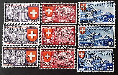 Switzerland 1939 Sc # 247 to Sc # 255 VFU NH Used Stamps Collection Set