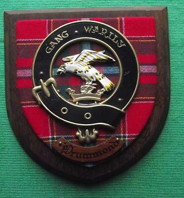 Vintage Scottish Clan Drummond Tartan Heavy Oak Plaque Crest Shield