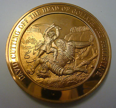 BIBLICAL BRONZE MEDAL / MEDALLION - David and Goliath