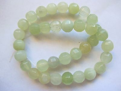 """Pale green chinese jade 12mm faceted round beads 16"""" new jade"""