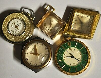 Lot of 5 Mixed Pendant/Pocket Watches For Parts Repairs #WL250