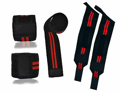 Hand And Knee Support Power Lifting Wrist & Knee Wraps Brace Power Gym Straps