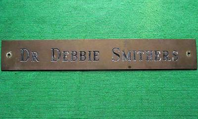 "Old Brass Vintage Sign Plaque Dr Debbie Smithers Surgeon Physician 12"" X 1.75"""