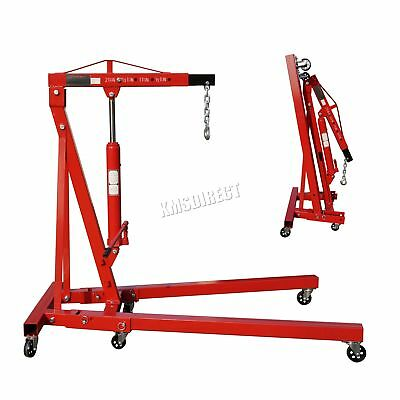 FoxHunter Red 2 Ton Hydraulic Folding Engine Crane Shop Stand Hoist lift Jack