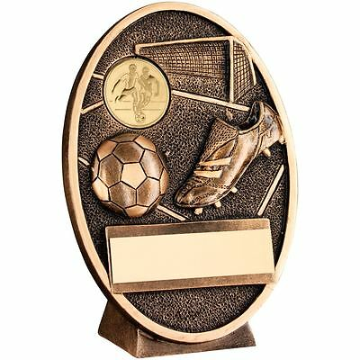 JR1-RF201A Brz/Gold Football+Boot Oval Plaque Trophy - 4.25in + Engraving