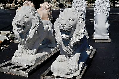 Pair of Marble Walking Guardian Lions