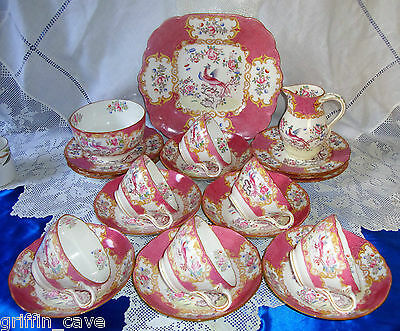 MINTON PINK COCKATRICE Breakfast Set / Tea Set With Teapot & Stand LARGE CUPS
