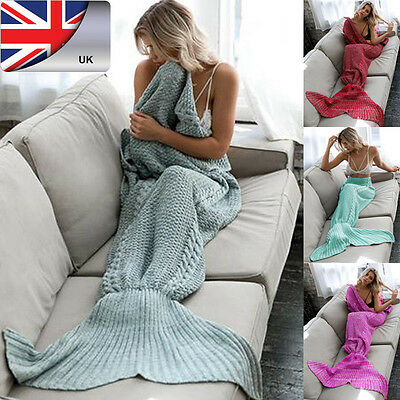 Adult Mermaid Tail Blankets Handmade Crocheted Cocoon Sofa Beach Knit Quilt Rug