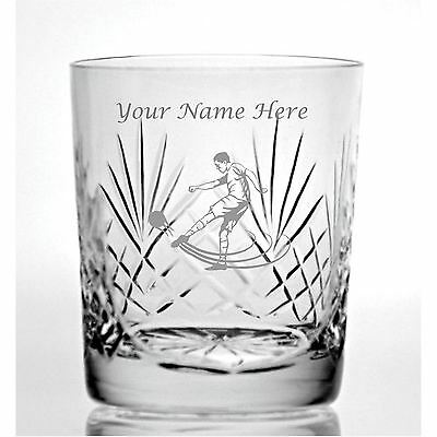 Personalised Engraved Cut Crystal 9oz Whisky Glass With Footballer Design