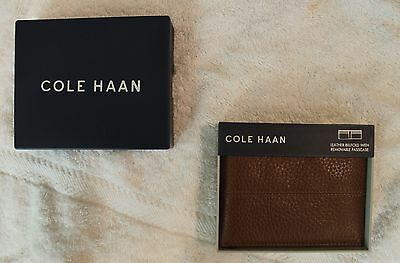 Cole Haan Mens Brown Leather Wallet Billfold with Removable Passcase NWT $98