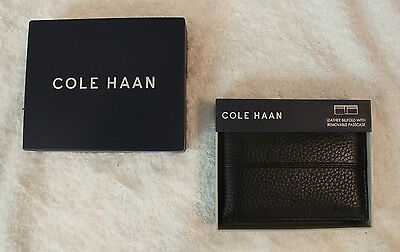 Cole Haan Mens Black Leather Wallet Billfold with Removable Passcase NWT $98