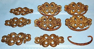 Set 8 Antique 4-Leaf Clover Stamped Metal Dresser Drawer Pull Handles Hardware