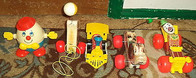 Lot of 5 Vintage Fisher Price Pull Toys-Humpty Dumpty-Toot-Toot & More 1970-80's