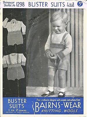 VINTAGE 1940's KNITTING PATTERN 2 BUSTER SUITS FOR BOY BABY/TODDLER
