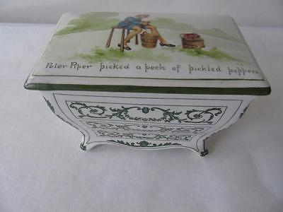 """Royal Doulton Nursery Rhymes Commode Shape Biscuit Box & Cover by W. Savage 7"""""""