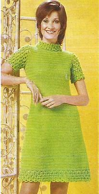 Vintage Crochet Pattern Mod Dress With Lacy Turtle-Neck, Short Sleeves & Border