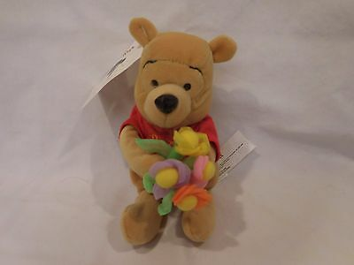 Disney's Winnie The Pooh Holding Flowers Plush Bear Bean's With RARE Tag