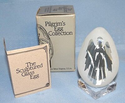 Pilgrim's Sculptured Crystal Art Glass Egg Collection Etched ANGEL Paperweight