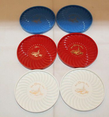 Walt Disney World Set of 6 Plastic Coasters Red Blue White Ritepoint Vintage