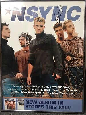 1999 NSYNC Boy Band Signed Promo Poster Including JUSTIN TIMBERLAKE Framed