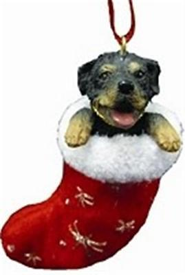 Rottweiler Dog Plush Sparkling Stocking Christmas Tree Ornament in Gift Box