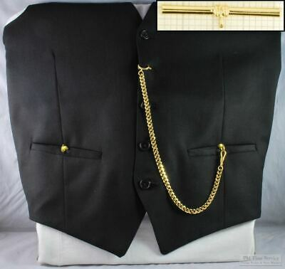 Straight pocket watch chain w/ cuff-detail t-bar; various finish options