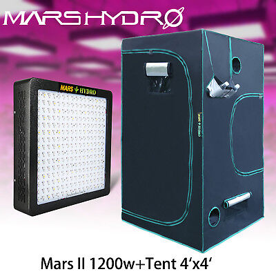 Mars II 1200W Led Grow Light Hydro Plant+4'x4'x7' Indoor Grow Tent Room Box1680D