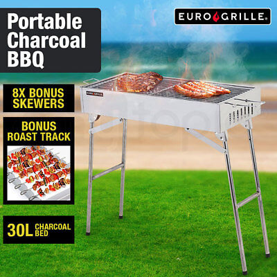 NEW Euro-Grille Outdoor BBQ Grill Charcoal Portable Collapsible Stainless Steel