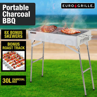 NEW Euro-Grille Portable Outdoor BBQ Charcoal Collapsible Grill Stainless Steel