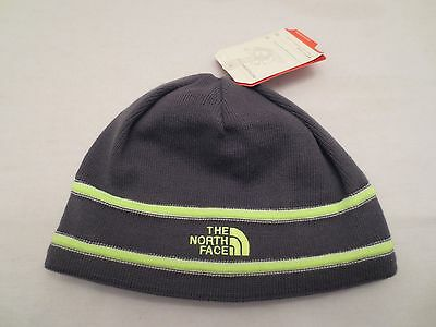 The North Face Logo Beanie Graphite Grey Green Knit Cap Hat Youth One Size Kids