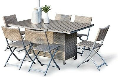 NEW EXCALIBUR Outdoor Livingston 7 Pce Rattan Wicker Folding Dining Package